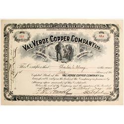 Val Verdi Copper Company Ltd. Stock Certificate  (62963)