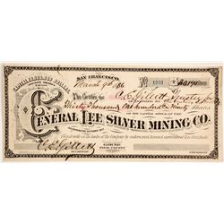 General Lee Silver Mining Company Stock - Rare G. T. Brown Lithographer Arizona Stock  (88023)