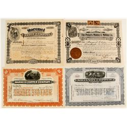 Mining Stock Certificates from the Morenci Mining District (4 count)  (62951)