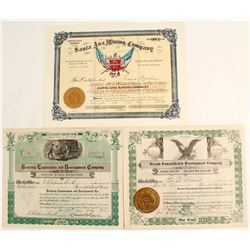 Striking Kingman District Stock Certificates (3 count)  (62945)