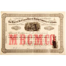 Mineral Bed Consolidated Mining Company of Arizona Stock Certificate  (60678)