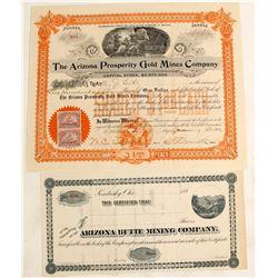Arizona Butte Mining Company  and Arizona Prosperity Gold Mines Co.  Stock Cert. (2 count)  (62271)