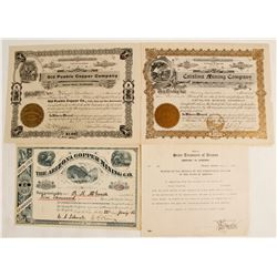 Amole District, Arizona Mining Stock Certificates (3 count)  (62943)
