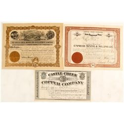Castle Creek District Stock Certificates ( 3 count)  (62956)