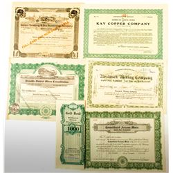 Arizona Mining Stock Certificates, (6 different)  (50308)