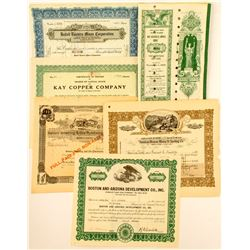 Arizona Mining Stock Certificates, 6 different  (50307)