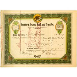 Rare Southern Arizona Ban and Trust Co. Stock Certificate  (50302)