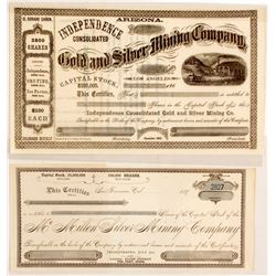 Two Unissued Early Arizona Stock Certificates  (88016)