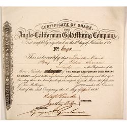 Anglo-Californian Gold Mining Co. Stock Certificate, Gold Rush  (86053)