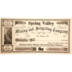 Spring Valley Mining and Irrigating Company Stock  (86149)