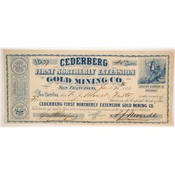 Cederberg First Northerly Extension Gold Mining Company Stock - Lithograph by GT Brown  (86162)