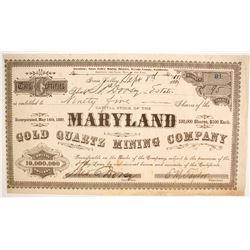 Maryland Gold Quartz Mining Company Stock  (87901)