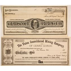Inyo County: Two Mining Certs  (86056)