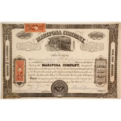 Mariposa Company: Early 1866 Fremont Related Stock Certificate  (86036)