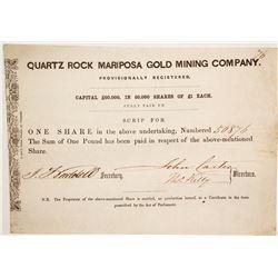 Quartz Rock Mariposa Gold Mining Company Stock  (86039)