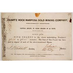 Quartz Rock Mariposa Gold Mining Company Stock  (86040)