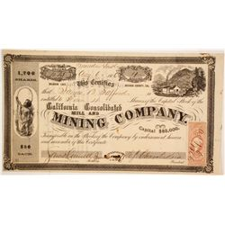 California Consolidated Mill and Mining Company Stock - WiTH VERY RARE DATELINE  (86042)