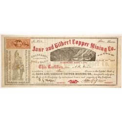 Jane and Gilbert Copper Mining Company Stock - Singed by Governor John Bigler!  (86046)