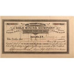 Willow Creek Gold Mining Co. Stock, Yuba County, Cal. 1882  (51217)