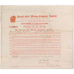 Russell Gold Mining Company Issue of Debenture  (55066)