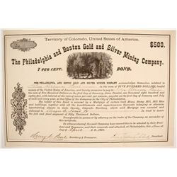 Philadelphia and Boston Gold and Silver Mining Company Bond  (87943)