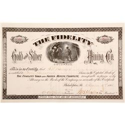 The Fidelity Gold and Silver Mining Company stock certificate  (60669)