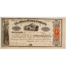 Montana Midas Mining Company Stock w/ Unknown Revenue Stamp Variety?  (87955)