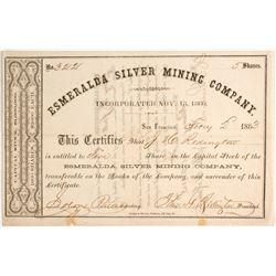 Esmeralda Silver Mining Company Stock - 1860!  (82018)