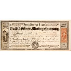 Young America Tunnel Company Stock with rare N. T. location  (82020)