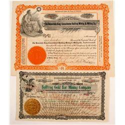2 Bullfrog Mines stock certificates  (88415)