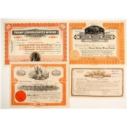 4 stock certificates for mines on north side of Rhyolite  (88414)