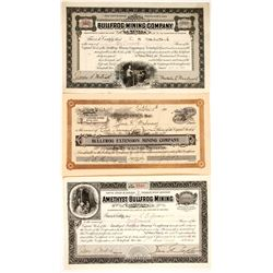 Bullfrog Mining Site stock certificates (3)  (88411)
