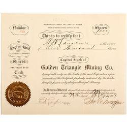 Nevada Lite New Golden Triangle Mining Co. Stock Cert.  (57426)