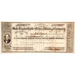 Gov. Bigler Gold and Silver Mining Company Stock  (86131)