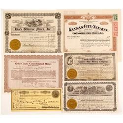 6 Nevada Miscellaneous stock certificates  (88418)