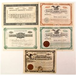 5 Graphite Mines stock certificates  (87234)