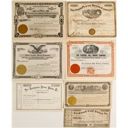 Seven Different Mining Stock Certificates some Unissued  (60017)
