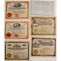 Six Different Western Mining Stock Certificates  (60016)