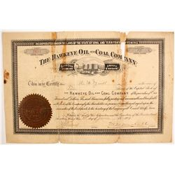 Hawkeye Oil and Coal Company Stock  (87912)