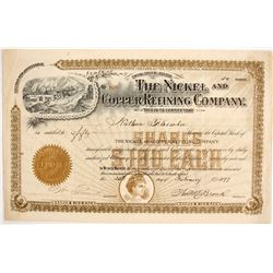 The Nickel and Copper Refining Company Stock Certificate  (88032)