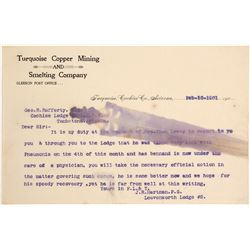 Turquoise Copper Mining and Smelting letterhead  (61800)