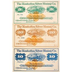 Set of Manhattan Silver Mining Company Scrip  (99369)