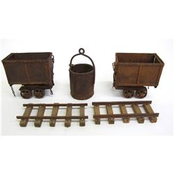 Hand Made Miniature Ore Carts and Ore Bucket  (88372)