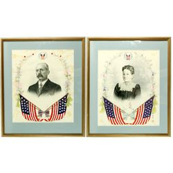 American Couple Silk Needlepoint and Portrait Prints (2)  (87100)