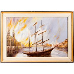 Clipper Ship Painting by Van Dam  (54856)
