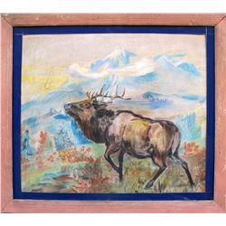 Pastel Elk Drawing  (54871)