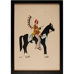 Warrior on Pinto Print by Spencer Asah  (56639)