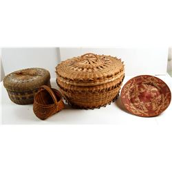 Baskets From the Micmac Tribe & 1 Plate, Spruce Root Basket  (86862)