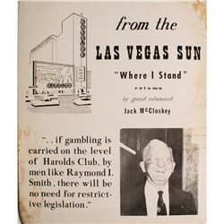 Large Cardboard Broadside Ad for Jack McCloskey talking about Harold's Club  (49728)