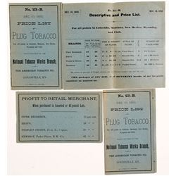 1892 Price Lists for Plug Tobacco  (55554)
